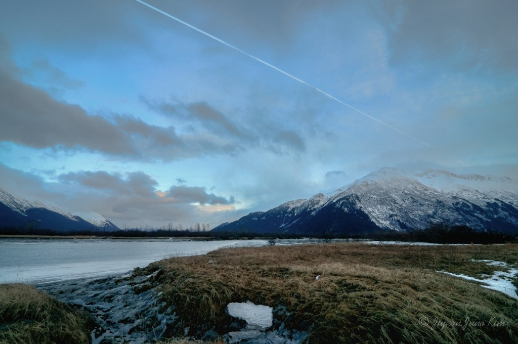The view of Chugach Mountains from Seward Highway