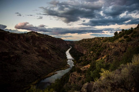 The sun sets over the Rio Grande del Norte National Monument, New Mexico