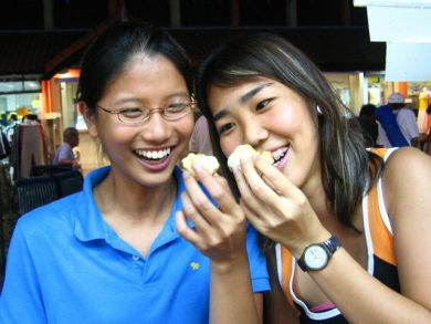 Cherlyn and me enjoying durians