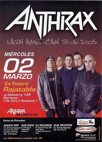 Afiche concierto Anthrax en Lima - Peru