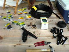 The drip irrigation setup
