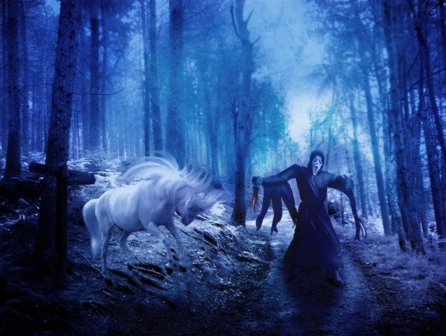 scream by nishagandhi horse forest night scary the scream movie halloween