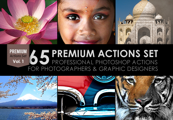 "65 Premium Actions Set is the Vol.1 of professional Photoshop actions perfect for photographers and graphic designers. All they have been created with precise calibration adjustments to bring your images to life using powerful tools & professional methods. FEATURES Non-destructive actions (all actions keep untouched the original image) Arranged (all layers are automatically arranged in a Group Folder) Best results with one click Combine actions (all actions are combinable to obtain more than 65 effects. You'll find the instructions in the PDF Help File) Make changes (most of the actions has been created using ""Adjustments layers"" which gives you the chance to change the values in your own way)"