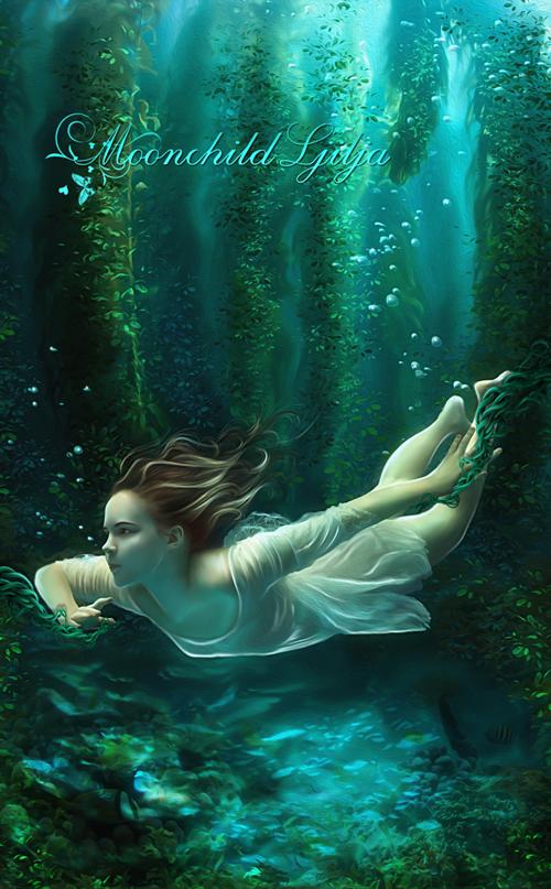 depth water underwater girl swimming fantasy