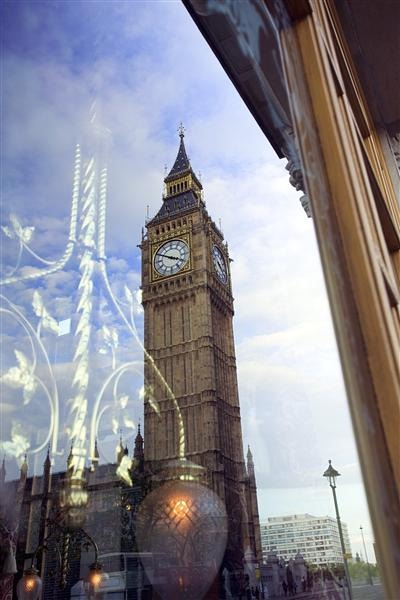 Reflection of Big Ben in Window, London, England