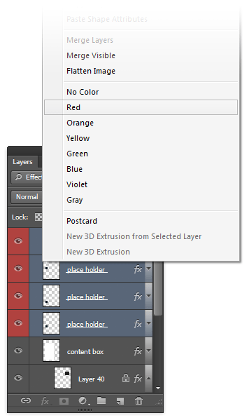 Applying color labels