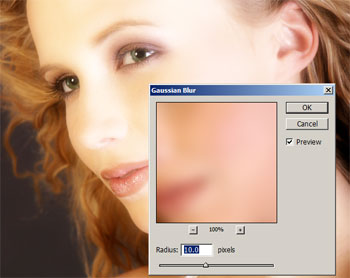 Editing the the Gaussian Blur filter settings.