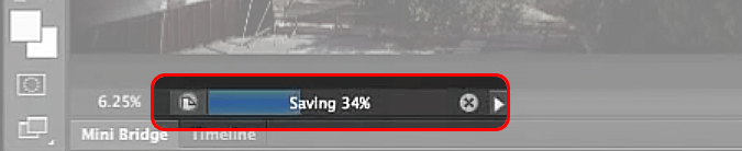 Background saving progress bar