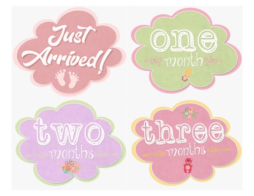 Smart Cut Out Each Cloud Sticker Adhere To Your Onsie Ir Baby Month Stickers Girls Cloud Studios Free Baby Month Stickers Baby Month Stickers Free Download
