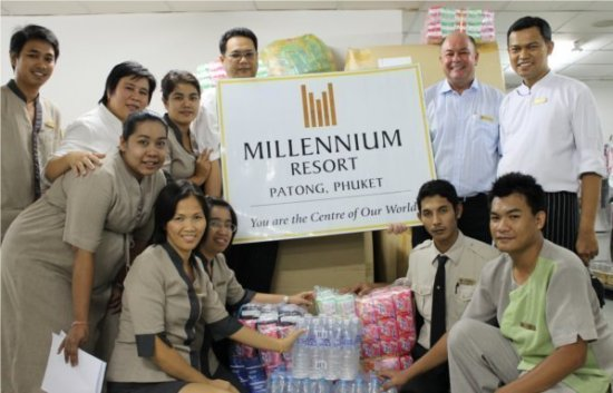 Millennium Resort Patong Phuket provided donations for flood victims