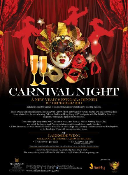 "Millennium Resort Patong Phuket presents ""Carnival Night"" New Year's Eve Gala Dinner"