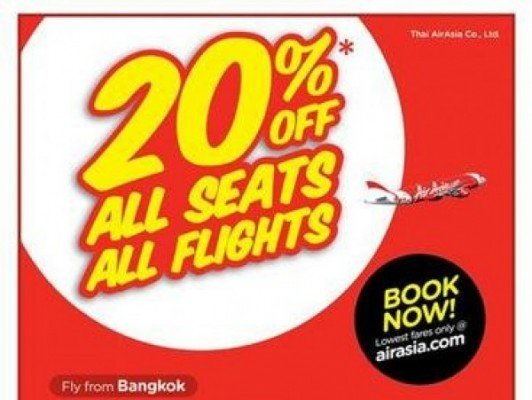 AirAsia offers 20% off all seats, all flights