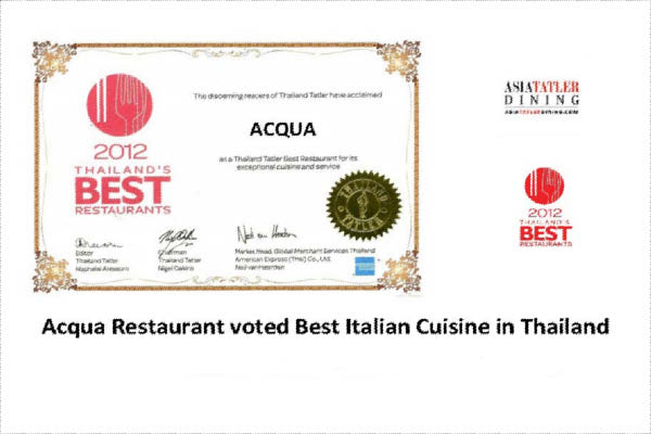 Tatler Thailand & Asia 2012 vote Phuket's Acqua Best Italian Cuisine
