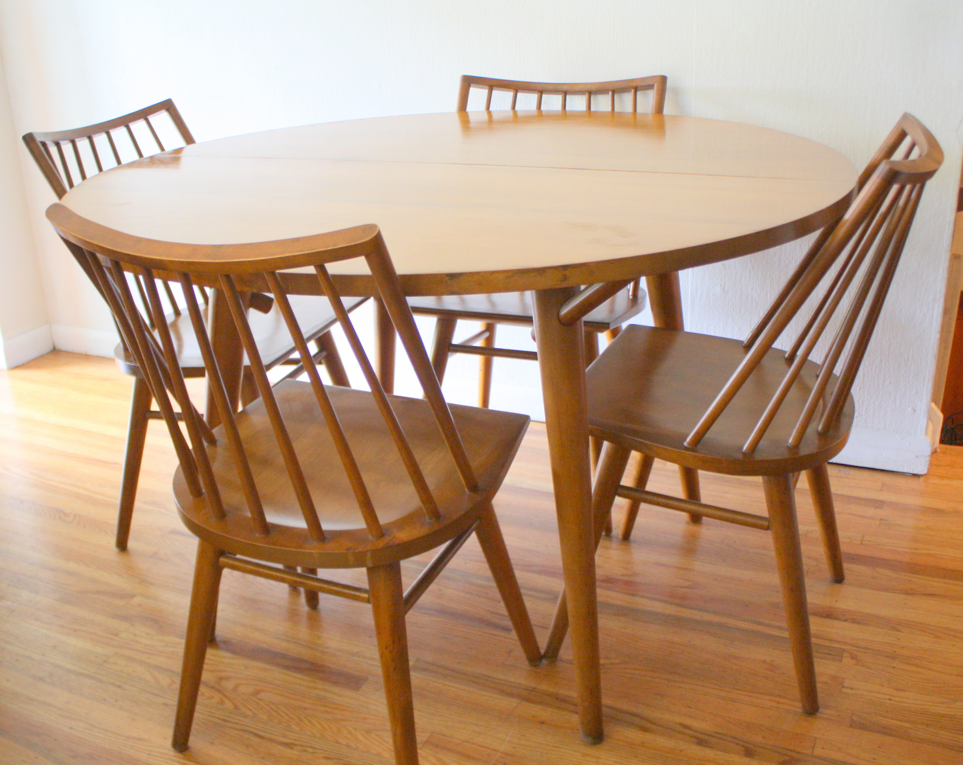 mid century modern dining table and chairs by russel wright for conant ball mid century kitchen table Conant ball dining set 1