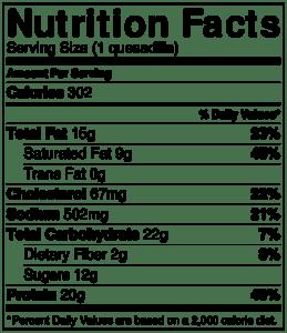 NutritionLabel-honey lime chicken quesadilla