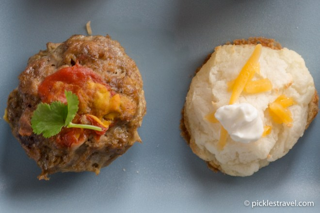 Meatball and Mashed Potato Appetizer TV Dinner bites