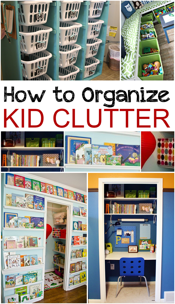 How To Organize Kid Clutter: how to store books in a small bedroom