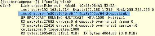 dirección ipv6 de enlace local en linux