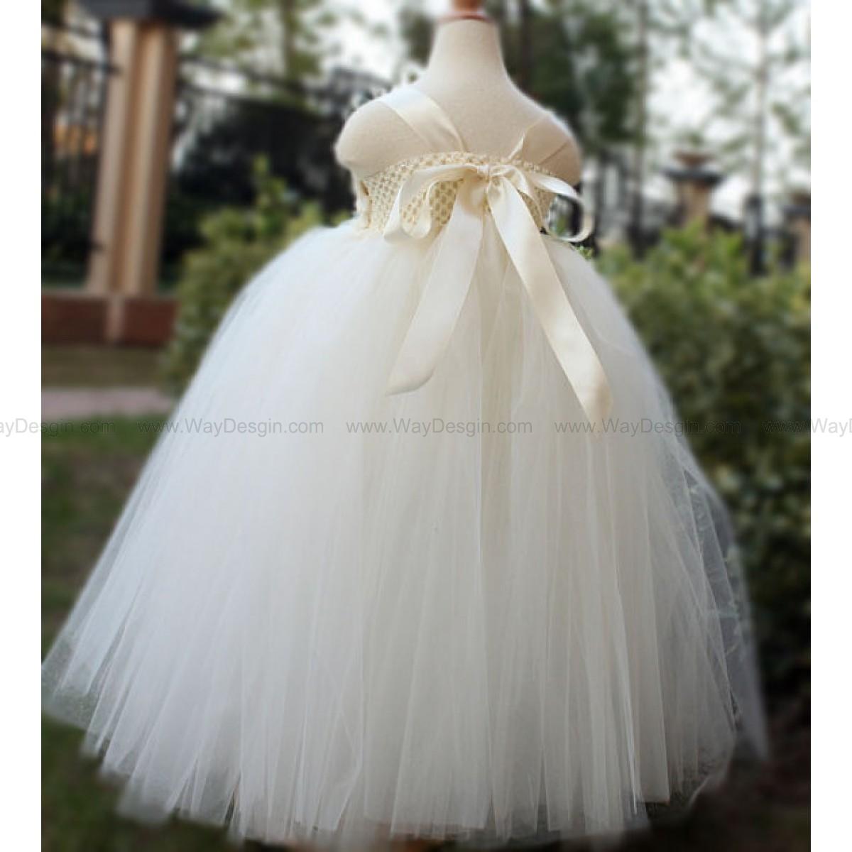 baby wedding dresses Flower Girl Dress Antique white Ivory tutu dress baby dress toddler birthday dress wedding dress