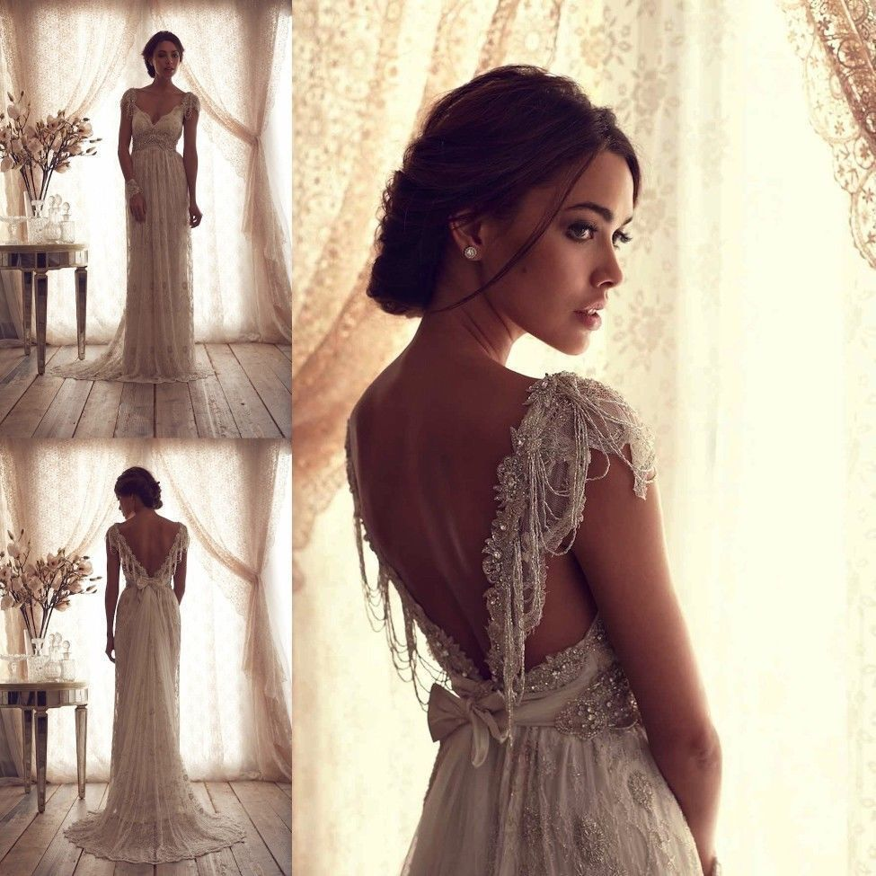 wedding dress ebay Anna Campbell Bridal Gown Ivory Lace Sexy V Backless Wedding Dresses Custom Size eBay