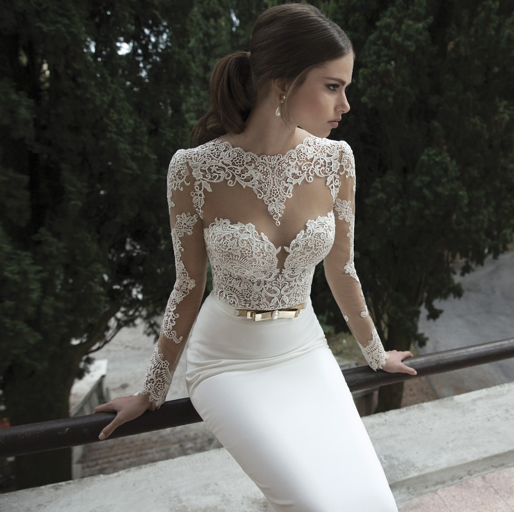 wedding dress accessories Elegant Long Sleeves Backless Mermaid Wedding Dress Without Train Lace Wedding Bridal Gown B in Wedding Dresses from Apparel Accessories