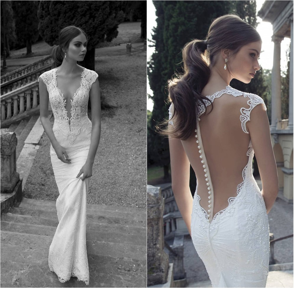 sheer back wedding dress Aliexpress com Buy Sexy Deep V neckline Cap Sleeves Mermaid Wedding Dresses Illusion Sheer Back Lace Vestidos de Novia Robe de Mariee from Reliable