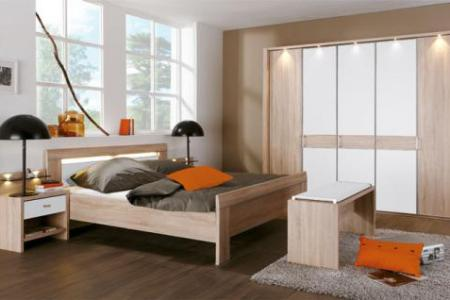 schlafzimmer donna wiemann kompaktbett mit nachtkonsolen dazu drehtrenschrank schlafzimmermbel eiche sgerau nachbildung mit absetzung alpinwei