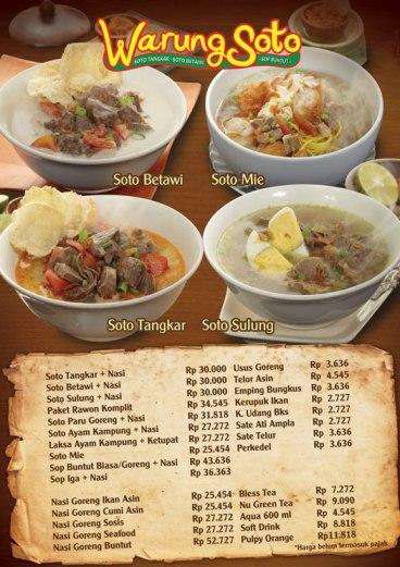 Warung Soto MenuAcrylic A33opt 2 Desain Daftar Menu Makanan