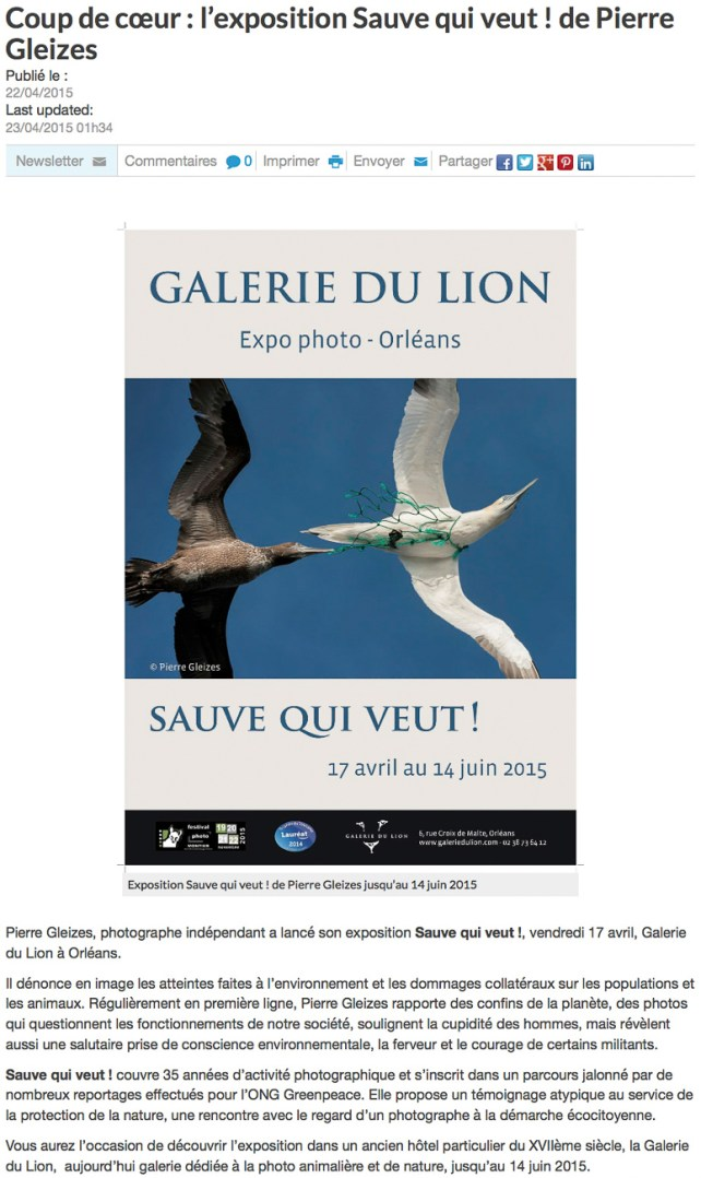 publication presse Garlerie du Lion Orleans
