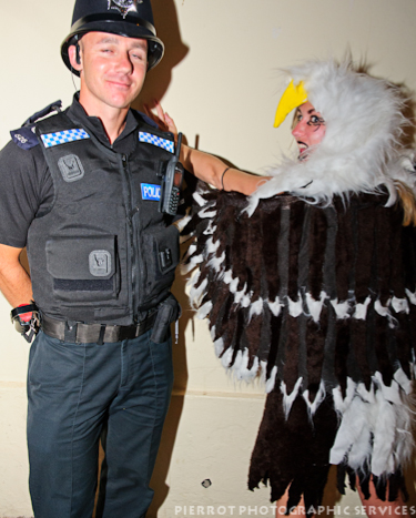 Cromer carnival fancy dress actual Cromer policeman with bald eagle