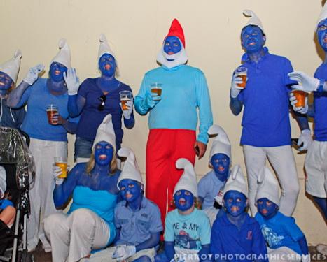 Cromer carnival fancy dress family of smurfs