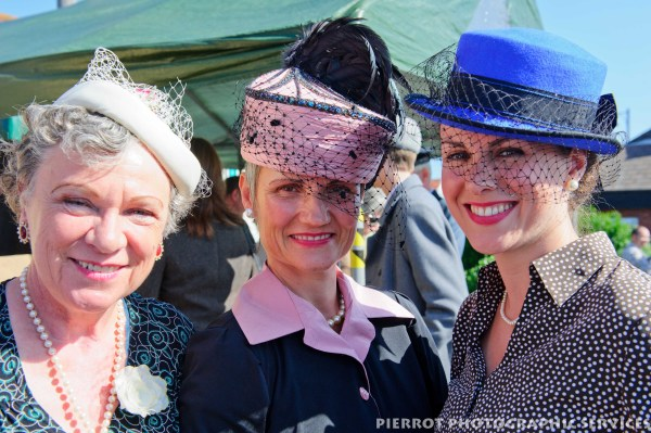 Women in period hats at the 1940s weekend in Sheringham, North Norfolk
