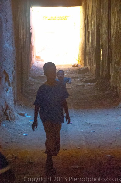 Child in alley in a medina in Morocco