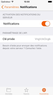 Écran des notifications correctement paramétré