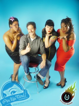 The crew at Pin-Up Girl Cosmetics. L-R: Kiah Clark, Sharif Hassan, Christine Starr Cookus, Kellyn Willey