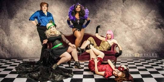 Galetea : Top L-R: Mama Deaze, Nox Fallas. Seated L-R: Medusa Oblangata, Gady Lala, Crymsen Duchess  Photo: Shay Wesley