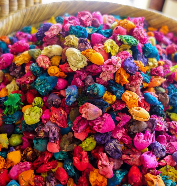 Dried flowers in neon rainbow colours for sale in the souk, Marrakech