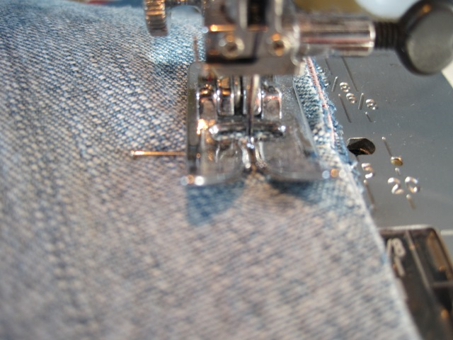 Sew right up to the pin before removing it.