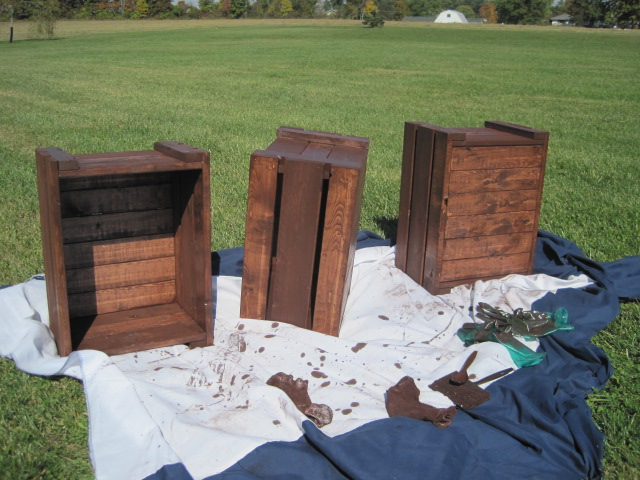 Wooden crates stained