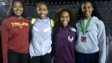 The future of Philippine sprinting (and relay). Pictured from left to right: Kyla Richardson (10th grade from Walnut High), Zion Corrales-Nelson (10th grade from British Columbia, Canada), Timary Baynard (11th grade form Piedmont High), Kayla Richardson (10th grade of Walnut High). All of these girls had a great day of competition at the Arcadia Invitational. This summer they will, hopefully, train and compete together as the prepare for the World Junior Championships this July in Eugene, Oregon. Both Kayla and Kyla Richardson are trained by Coach Jon