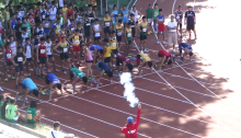 59 Heats of the 100m, here in the blocks is Heat 1 of the Mens A Race.