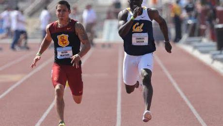 Bryan Mercado (red) takes the season lead in the 100 Meter Dash
