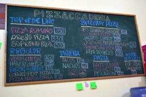 Menu at Pizzaccademia