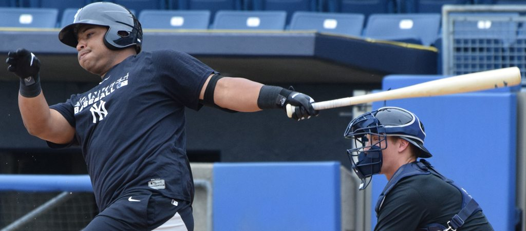 Bo Thompson taking swings at the Richmond County Bank Ballpark (Robert M Pimpsner)