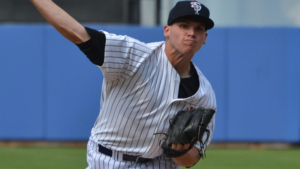 Rookie Davis  pitched a solid six inning for the Tampa Yankees on Wednesday in the first game of the double header. (Robert M Pimpsner)