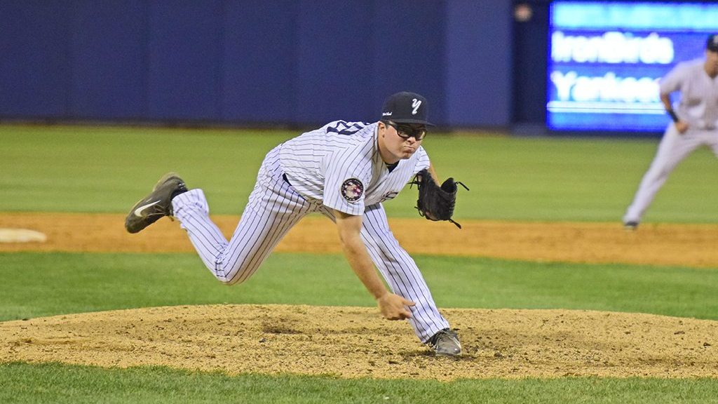 Alex Bisacca made his first relief appearance for the Staten Island Yankees (Robert M Pimpsner)