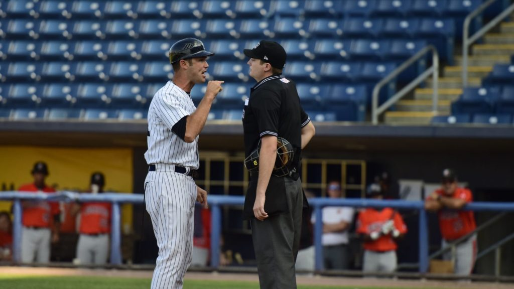 Staten Island Yankees manager Pat Osborn was ejected. (Robert M Pimpsner)