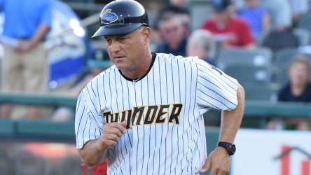 Manager Al Predrique coaching third base for the Trenton Thunder during the 2015 season (Robert M. Pimpsner / Pinstriped Prospects)