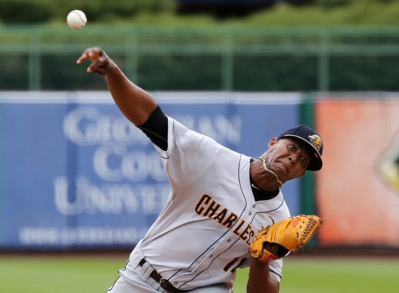 Right-hander Domingo Acevedo, works against Lakewood Wednesday. He is 2-1, 1.91 in five starts. (Photo by Martin Griff)