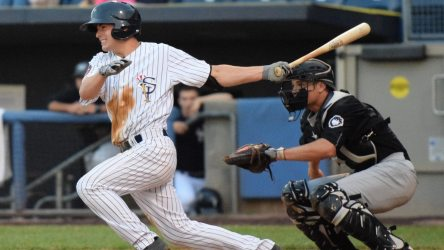 Nick Solak, the Yankees 2nd RD pick, got the go-ahead RBI on his first professional hit in the seventh inning of a game against the West Virginia Black Bears on June 23, 2016. (Robert M. Pimpsner/RMP Sports Media, Inc.)
